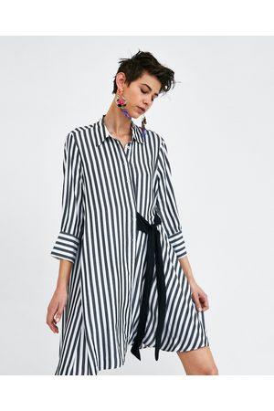 Zara Damen Freizeitkleider - HEMDBLUSENKLEID MIT SCHLEIFE