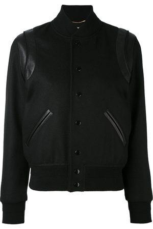 Saint Laurent Leather trim varsity jacket