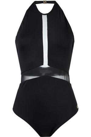 Brigitte Sheer panel halterneck swimsuit