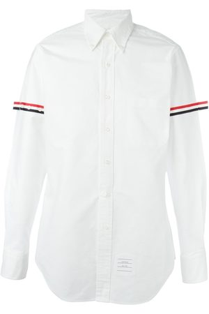 Thom Browne Long Sleeve Shirt With Grosgrain Armbands In Oxford