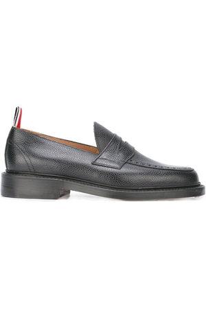 Thom Browne Herren Halbschuhe - Penny Loafer With Leather Sole In Black Pebble Grain