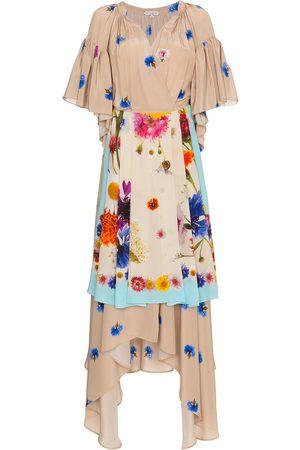 Natasha Zinko Damen Bedruckte Kleider - Silk Floral Apron Wrap Dress