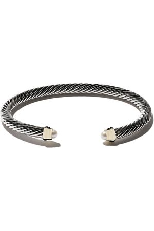 David Yurman Cable kids birthstone sterling silver, 14kt yellow gold accented and pearl cuff bracelet