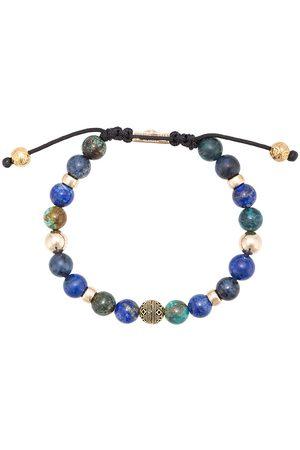 Nialaya Herren Armbänder - Blue Lapis, Blue Dumortierite and Bali Turquoise beaded bracelet