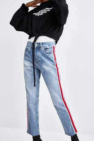 Zara JEANS HI-RISE STRAIGHT LEG SEITENSTREIFEN