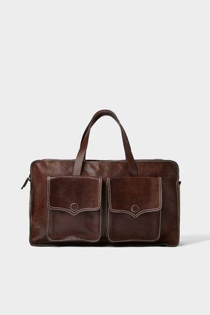 Zara BROWN LEATHER BOWLING BAG