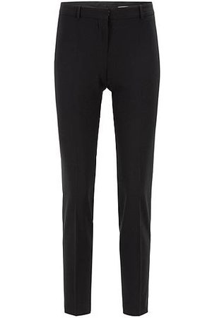HUGO BOSS Regular-Fit Hose aus italienischer Stretch-Schurwolle in Cropped-Länge