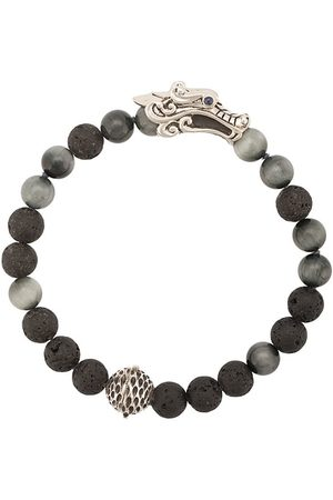 John Hardy Naga granite and sapphire glass bead bracelet
