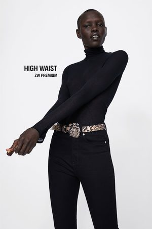 Zara JEANS ZW PREMIUM HIGH WAIST SATIN MOLECULE BLACK