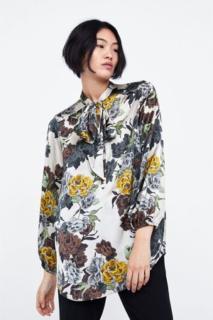 Zara FLORAL PRINT BLOUSE WITH TIE NECK