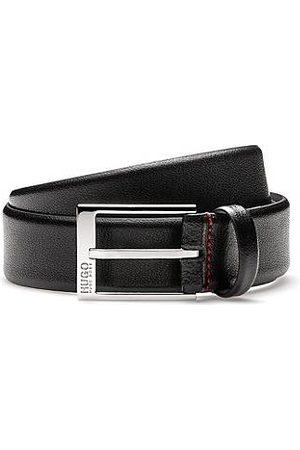HUGO BOSS Geprägter Ledergürtel mit glänzend polierten Metall-Details