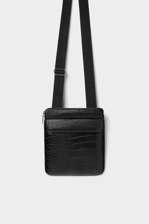 Zara BLACK EMBOSSED MOCK CROC CROSSBODY BAG