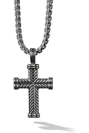 David Yurman Herren Halsketten - Silver Chevron Cross Enhancer pendant