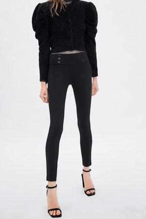 Zara Leggings mit mittelhohem bund und knöpfen