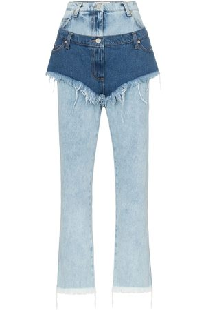 Natasha Zinko Damen High Waisted - High waist layered shorts jeans