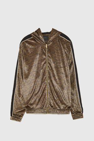 Zara SWEATJACKE MIT LEOPARDENPRINT
