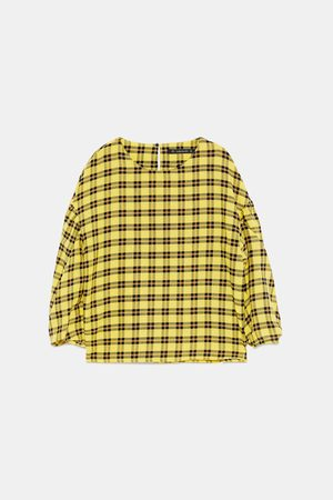 Zara CHECKED BLOUSE WITH PLEATED SLEEVES