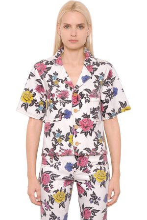 House of Holland Damen Blusen - Hemd Aus Baumwlldenim Mit Rosendruck