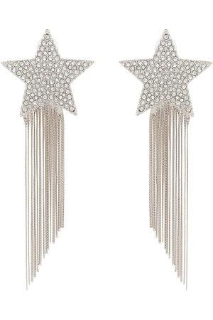 Saint Laurent Metallic shooting star tassel drop earrings