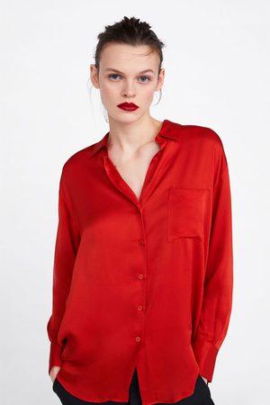 Zara Satinierte bluse mit tasche