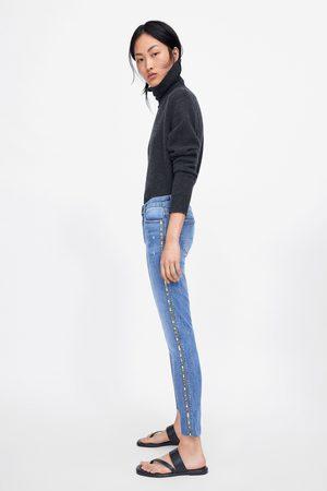 Zara Skinny-jeans z1975 mit seitlichem glitzerstreifen