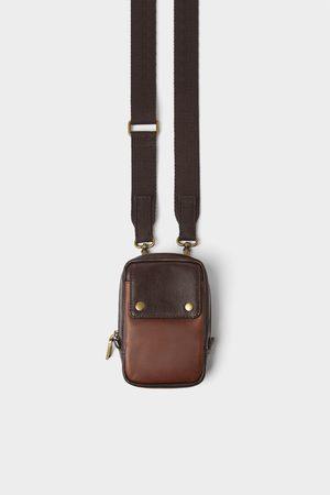 Zara Brown leather mini crossbody bag