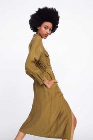 Zara Hemdblusenkleid mit taschen