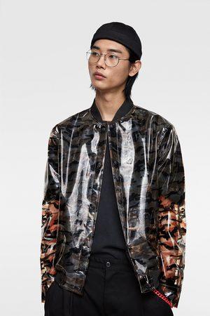Zara Transparente bomberjacke mit camouflagemuster