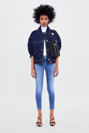 Zara Skinny-jeans z1975 mit neonfarbenem knopf