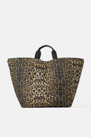 Zara Gesteppte shoppertasche mit animalprint