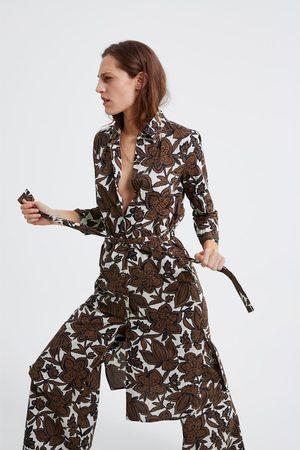 Zara Tunika mit blumenmuster und bindegürtel
