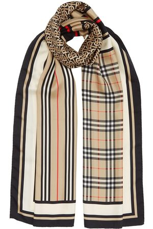 Burberry Monogram, Icon Stripe and Check Print Silk Scarf