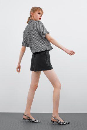 Zara Damen Shorts - Bermudashorts aus kunstleder