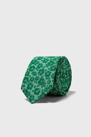Zara Schmale krawatte mit blumenmuster