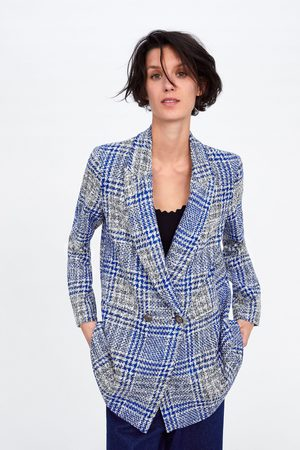 Zara Check double-breasted blazer