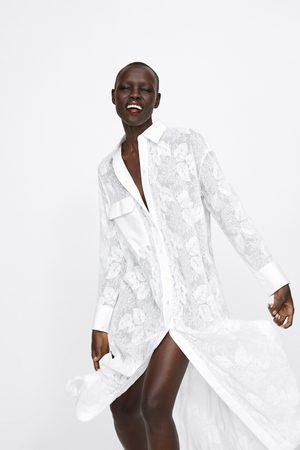 Zara Bestickte tunika mit tasche