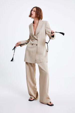 Zara Damen Gürtel - Gestreifter blazer mit gürtel
