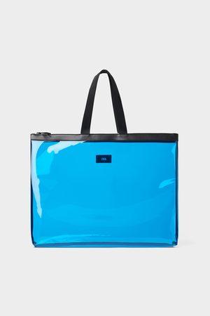 Zara Blauer xl-shopper aus vinyl