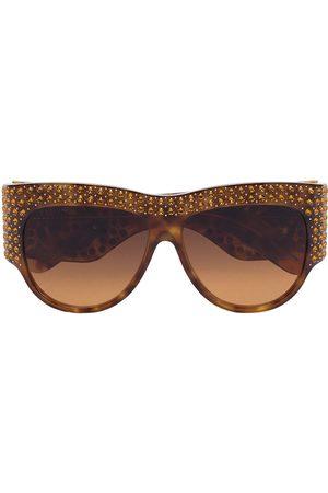 Gucci Crystal embellished oversized tortoiseshell sunglasses