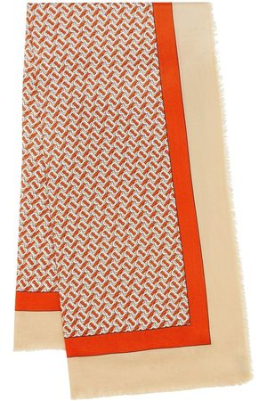 Burberry Monogram Print Lightweight Cashmere Scarf