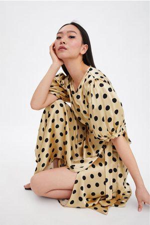 Zara Damen Freizeitkleider - Wickelkleid mit tupfen