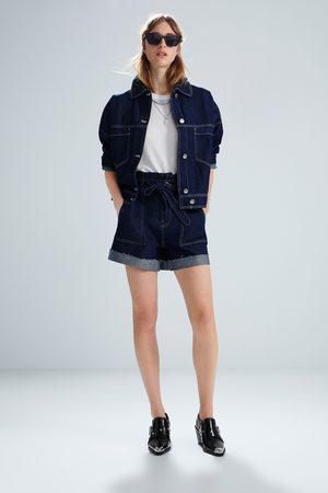 Zara Damen Shorts - Jeansshorts mit gürtel