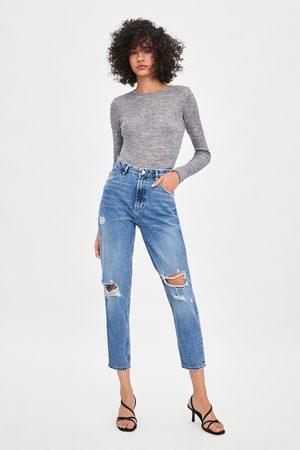 Zara Klassische mom-jeans mit hoher taille