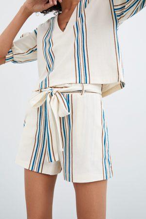 Zara Damen Shorts - Gestreifte shorts aus festem stoff