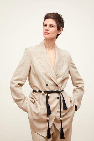 Zara Gestreifter blazer mit gürtel