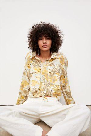 Zara Bedrucktes hemd mit lochstickerei
