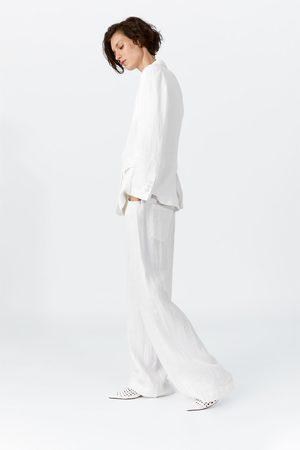 Zara Damen Weite Hosen - Weite leinenhose