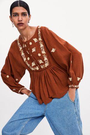 Zara Bestickte bluse mit ballonärmeln