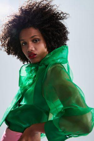 Zara Organza-bluse mit schleife