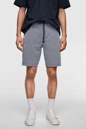Zara Herren Shorts - Pikee-bermudashorts mit kontrastbund